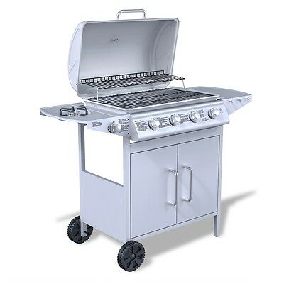 NEW Stainless Steel Gas Barbecue BBQ Grill 4 Burners+1 Side Burner SilverOutdoor
