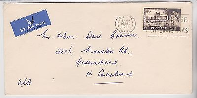 GB STAMPS 1961 AIRMAIL ENVELOPE TO USA 2/6d RATE FROM COLLECTION