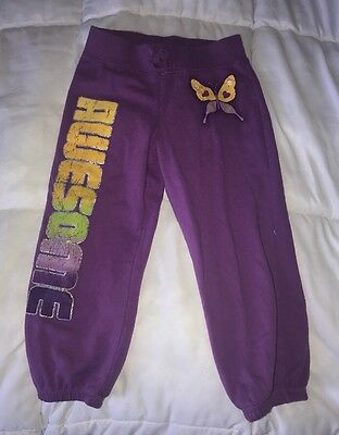 "Girls 8 The Childrens Place Purple ""Awesome""  Sweatpants Capris Pants Cropped"