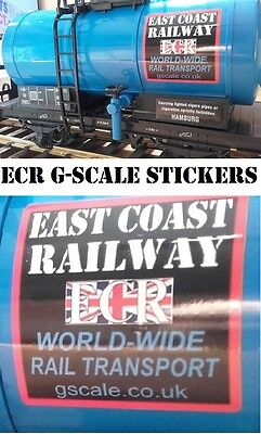 4 ECR SIGNAGE STICKERS FOR ROLLING STOCK G SCALE 45mm GAUGE CARGO RAILWAY TRAIN