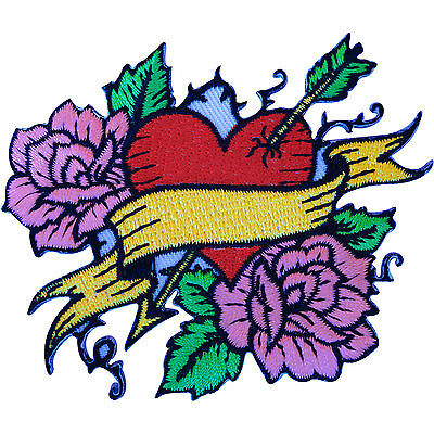 Embroidered Iron Sew On Tattoo Red Heart Pink Roses Patch Rockabilly Biker Badge