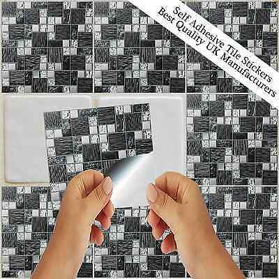 Mosaic Tile Sticker Transfer Kitchen Bathroom Marble Stone Glass Effect TP71
