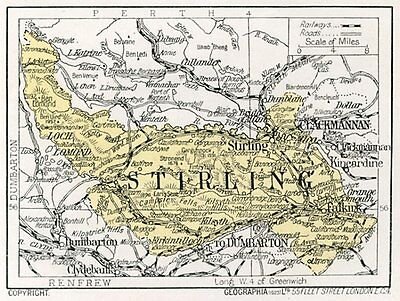 1923 map of Scotland: Stirling, Stirlingshire ready-mounted antique print SUPERB