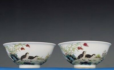 Rare A Pair of Antique Chinese Hand Painting Porcelain Bowls Marked GuangXu