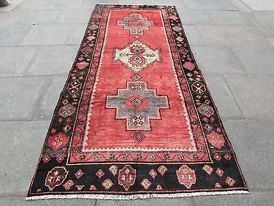 Old  Traditional Persian Rug Wool Red Pink Oriental Hand Made Rug 310x140cm