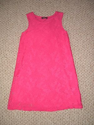 George Girls Age 9 - 10 Years Lace Effect Red Dress.