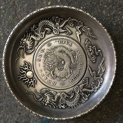 antique   The ancient Chinese qing dragon pattern plate