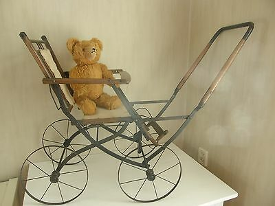 Antique Portable Doll Carriage Collapsible Stroller.