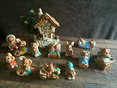 LOT of 13 PENDELFIN painted Stonecraft Rabbits (Made in England Rare Retired)