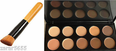 10 Colors Camouflage & Concealer Face Makeup Palette Cream Nature with Brush