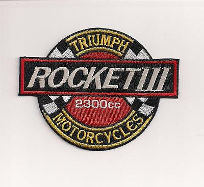 Triumph Motorcycles Rocket Iii Round Patch Written In White On Black
