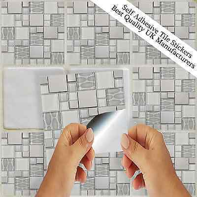 Silver Grey Tile stickers Transfers Kitchen Bathroom Tiles Marble Glass Effect