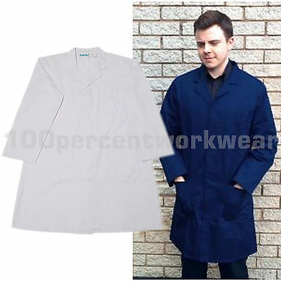 Warrior Mens Polycotton Warehouse Lab Coat Laboratory Smock White or Navy Blue