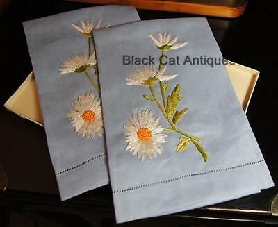 Delightful Lot of Two (2) Vintage Irish Linen FingertipTowels Blue w/Daisies NOS