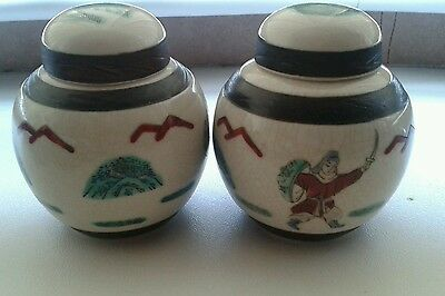 Antique /vintage rare  chinese crackle small jars brown seal mark