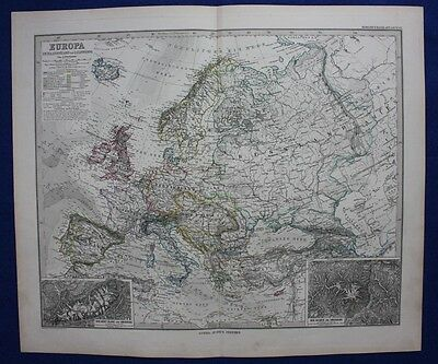 EUROPE ICELAND, SPAIN, ITALY, RUSSIA, GERMANY original antique map, Steiler 1880