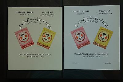 Lebanon, 1962 Bridge Souvenir Sheet, With And Without Price, Mint, A Pair