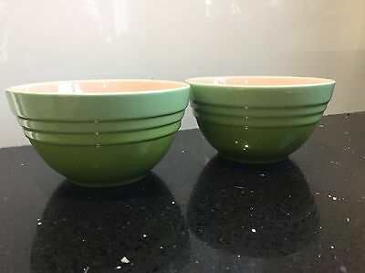 """Pair of Le Creuset Green Stoneware 5"""" bowls. Unused And Unboxed"""