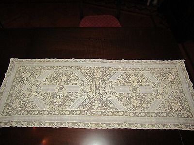 """Vintage Normandy Mixed Net Lace Table Runner Dresser Scarf Embroidered Linen 40"""""""