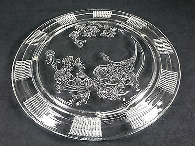 Federal Glass Sharon Cabbage Rose Cake Plate Salver Depression Era 1930's