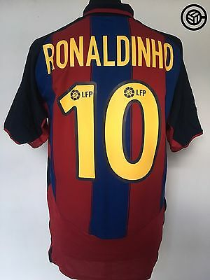 RONALDINHO #10 Barcelona Nike Home Football Shirt Jersey 2003/04 (L)