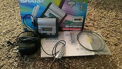 portable sharp md mt290h mini disc player/recorder mains remote earplugs battery