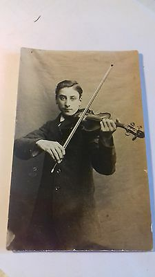 rp card,unnamed violinist,c1910,musician,edwardian card