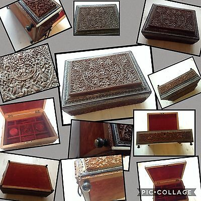 Antique Hand Carved Mosaic Oriental Jewellery Box