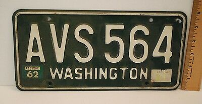 WASHINGTON State  ORIGINAL LICENSE PLATE, 61 & 62 Tabs, Vintage Car Truck