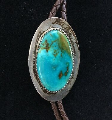 Vintage Navajo Sterling Silver Large Blue Turquoise Stone Bolo Tie