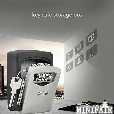 OUTDOOR KEY SAFE BOX Combination Security Keys Lock Wall Mounted Home Car