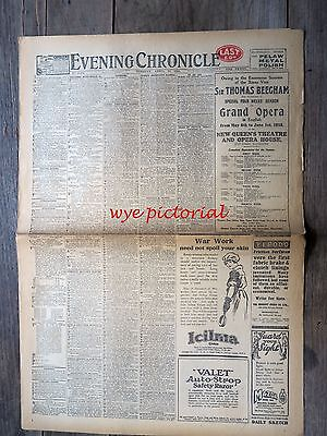 Ww1 Evening Chronicle Newspaper  Apr 23 1918 - British Naval Raid On Ostend