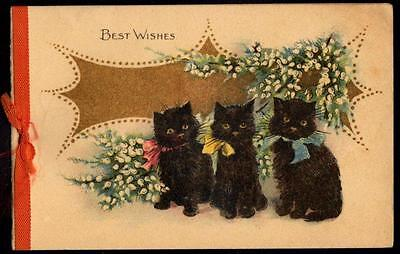 3 x Vintage Black Cat Greeting Cards - Early 1900s - Good Luck Wishes