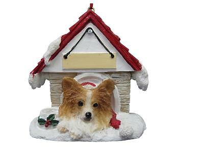PAPILLON Doghouse Ornament -- PERSONALIZED FREE!
