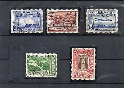 PERU Stamps fr old TAD collection 5 scarce high value fine used to 10 Solus