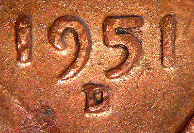 1951 D/D Lincoln wheat cent with error RPM-030