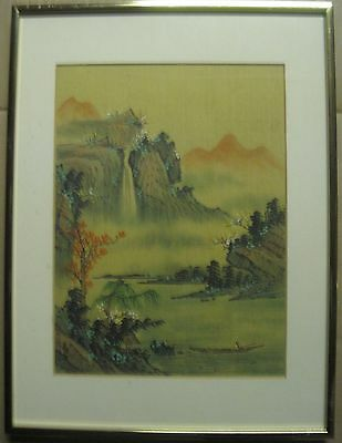 Lovely Vintage Signed  Japanese  Mountain Landscape Watercolor/silk  Painting