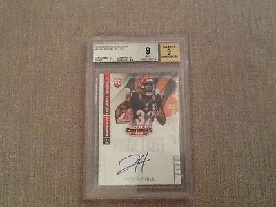 2014 Panini contenders Jeremy hill rookie ticket auto Beckett graded 9