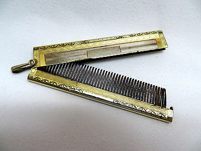 Antique Gold Plated Chatelaine Folding Hair Comb ~ F. P. Company