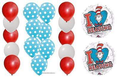 32pc BALLOON set DR SEUSS I LOVE Reading Blue Red White Latex Mylar Free Ship