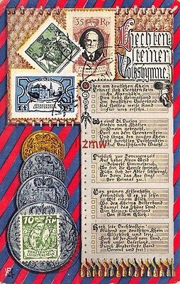 Liechtenstein 3 Postage Stamps & 4 Coins Not Real & 1 Real Stamp Printed Card