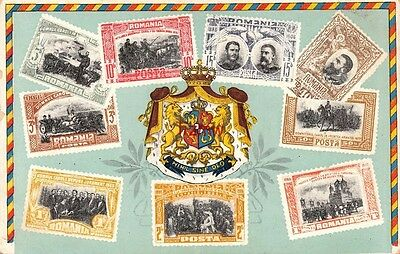 Romania Postage Stamps Not Real Surround Crest Printed Card