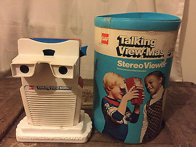 GAF TALKING VIEW MASTER STEREO VIEWER IN TUB 1970's WORKING ORDER RETRO XMAS