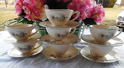 7 Knowles High Sierra  Platinum Trim Made In Usa Cup &  Saucer Sets