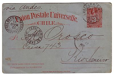 Chile 1893 3 Cts Colon Stationery Card To Brazil