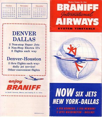 Braniff -1964 System Timetable Effective October 25