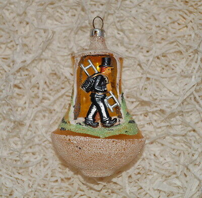Antique Blown Glass Diorama Christmas Ornament, chimney sweep  (# 6963)