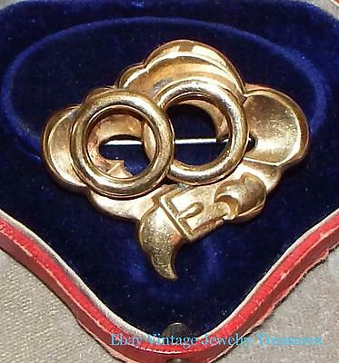 Antique Victorian Yellow Gold Puffy Buckle Design Pin Estate