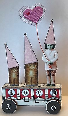 Valentine Fairy Cats LOVE Altered Art vtg Ooak Collage Handcrafted Mixed Media