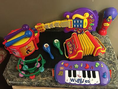 Huge THE WIGGLES MUSICAL TOY LOT! Guitar Accordion Drums Keyboard Microphone Etc